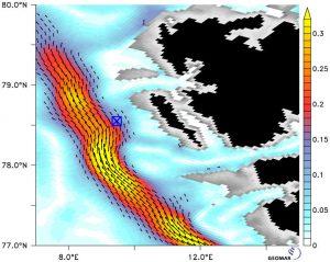 Deutlich zu sehen ist, wie sich zu unterschiedlichen Zeiten die Strömungsverhältnisse direkt an den untersuchten Methanquellen (blaues Quadrat) unterscheiden. Simulation und Visualisierung: Geomar