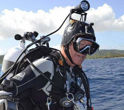 Dr. Guy Garman vor einem seiner Trainingstauchgänge. Foto: Scuba Tech Phillipines