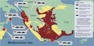 Untersuchungsgebiet, darin vermerktes Verbreitungsgebiet der Mönchsrobbe, Schutzzonen und Walstrandungen. (Oceancare)