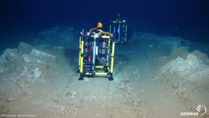 """Experiment on the seafloor. Image taken during cruise SO242/2 in the DISCOL area at 4100 m depth by ROV KIEL 6000. The Investigations were part of the JPIOceans project """"Ecological Aspects of Deep-Sea Mining""""."""