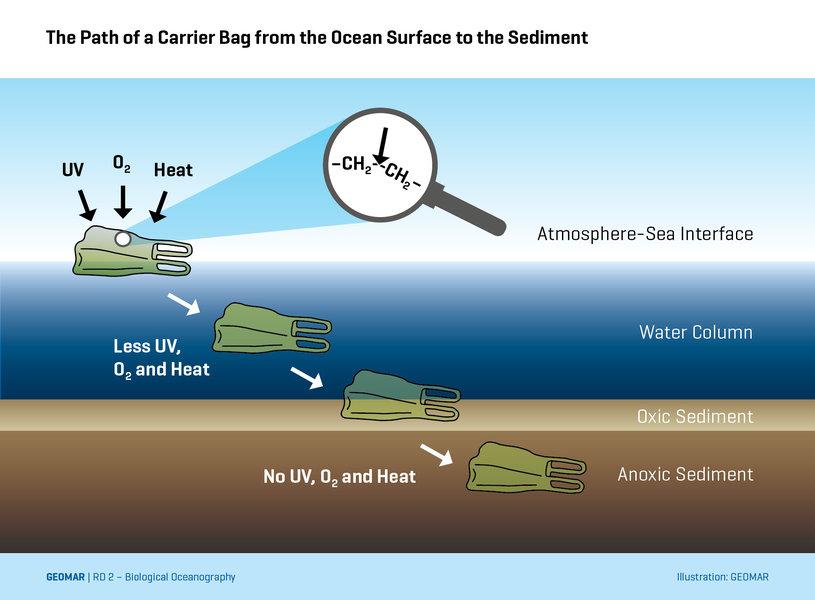 Der Weg einer Plastiktüte von der Meeresoberfläche bis in Sediment des Meeresbodens. Grafik: GEOMAR.