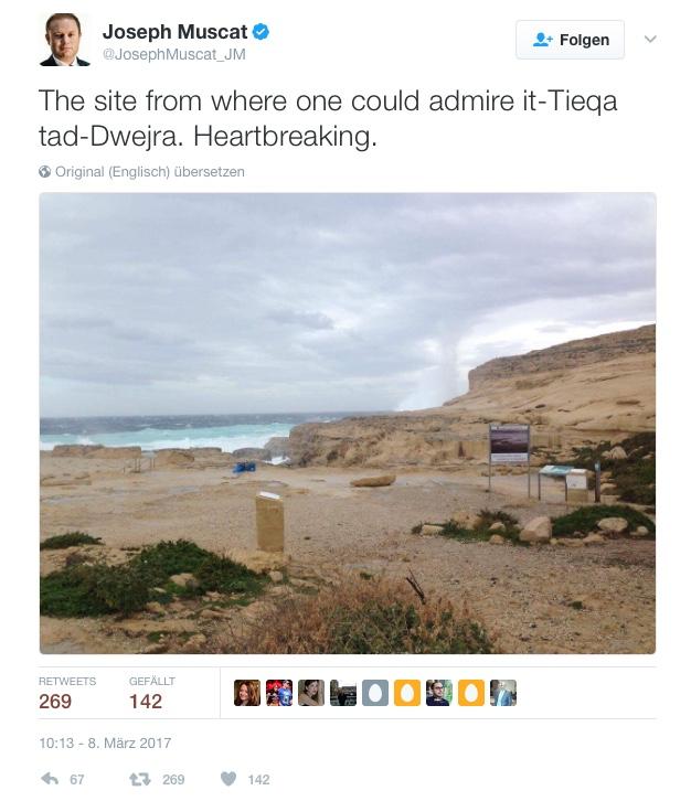 Einfach verschwunden: Maltas Premier ist bestürzt und postet ein Foto von dem Ort, an dem bis heute früh das Azure Window stand. Screenshot: Twitter