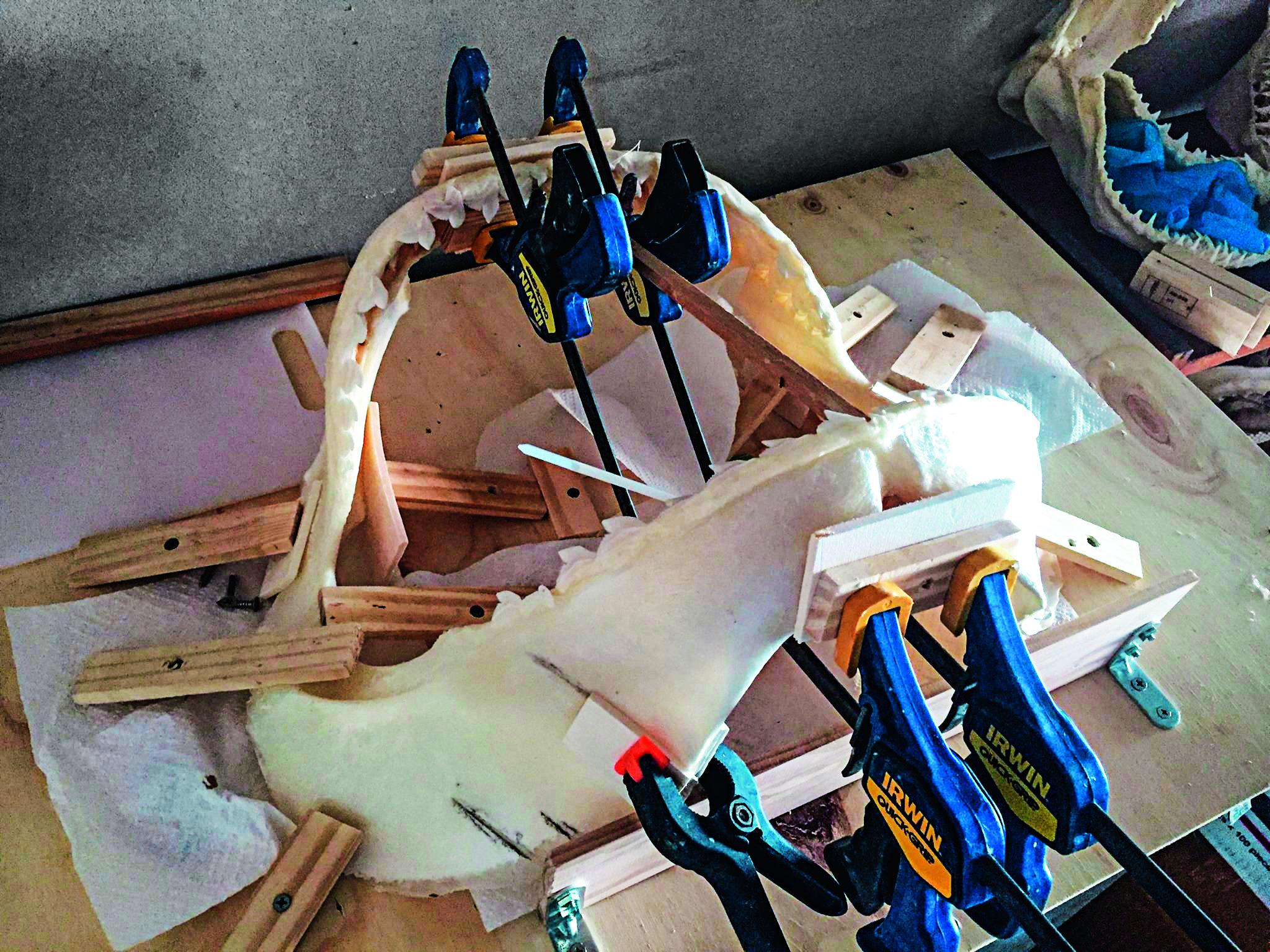 Präperierter Kiefer mit allerlei Werkzeug