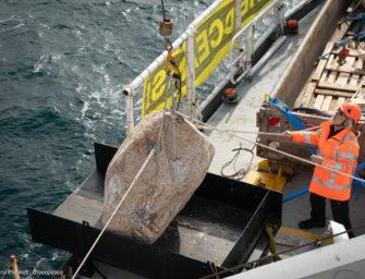 Greenpeace baut Unterwasserbarriere in der Nordsee