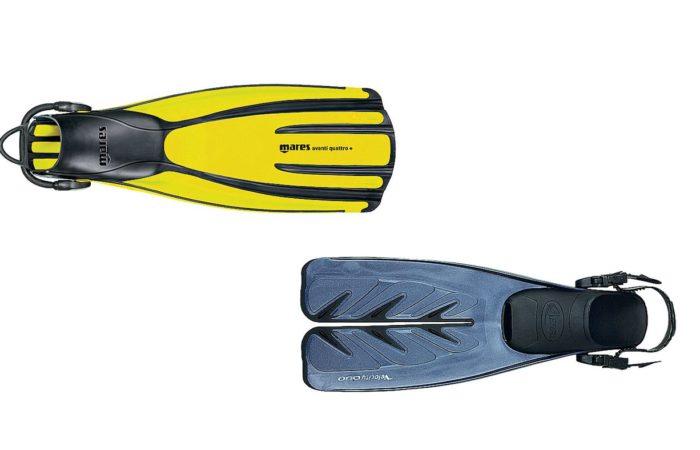 Eine Frage der Haltbarkeit: Auch wenn Verschlüsse (unten) beim Anziehen helfen, normale Flossenbänder sind Vergangenheit. Spring Straps (oben) sollten es sein!